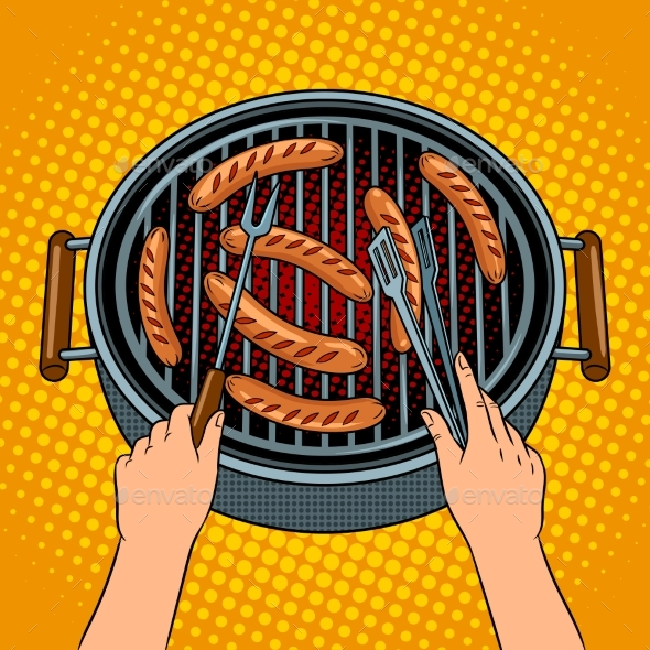 Hands Grilling Sausages on Barbecue Pop Art Vector