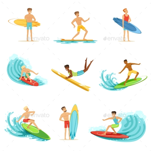 Surfboarders Riding on Waves Set, Surfer Men - Sports/Activity Conceptual