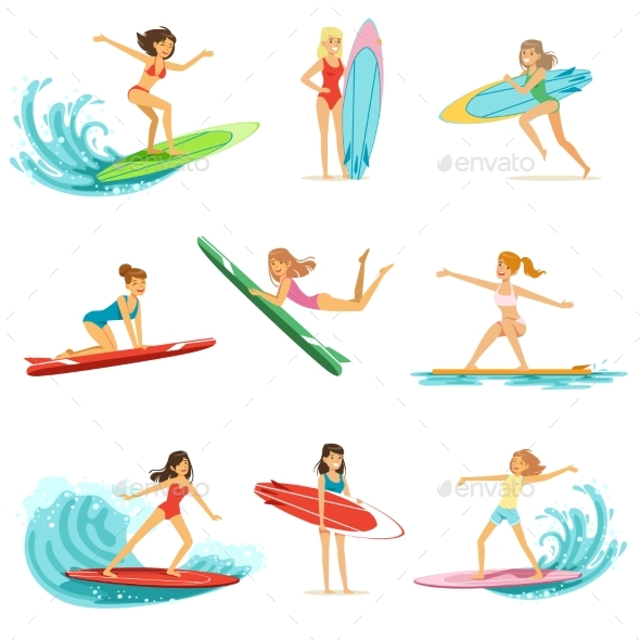Surfer Girls Riding on Waves Set, Surfboarders - Sports/Activity Conceptual