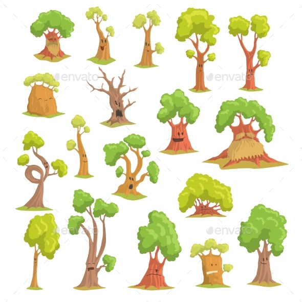 Tree Characters Set, Funny Humanized Trees - Flowers & Plants Nature