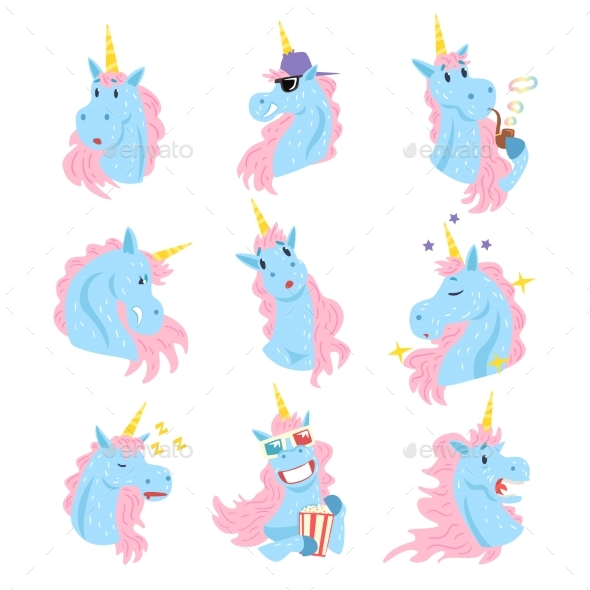 Unicorn Characters with Different Emotions