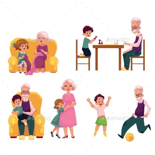 Grandparent Spending Time with Grandchildren - People Characters