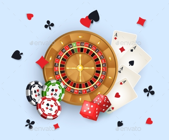 Casino Banner with Tokens, Roulette Wheel, Cards - Miscellaneous Vectors