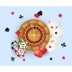 Casino Banner with Tokens, Roulette Wheel, Cards - GraphicRiver Item for Sale