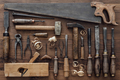 Vintage woodworking tools on the workbench - PhotoDune Item for Sale
