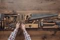 Carpenter holding tools - PhotoDune Item for Sale