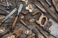 Old carpentry tools on the workbench - PhotoDune Item for Sale