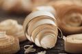 Wood shavings on the carpenter's workbench - PhotoDune Item for Sale
