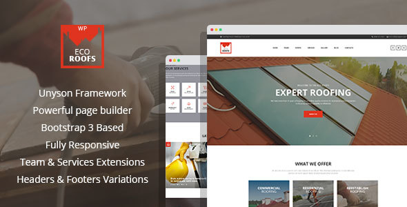 Eco Roofs - Roofing Renovation WordPress Theme - Business Corporate