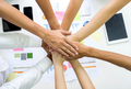 Team staff clasp hands together,Analyst team hands together.