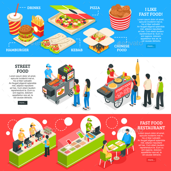 GraphicRiver Fast Food Isometric Banners Set 20667920