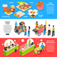 Fast Food Isometric Banners Set