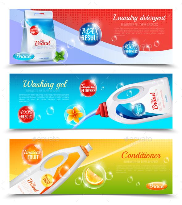 Detergents Clothes Horizontal Banner Set - Backgrounds Decorative