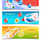 Detergents Clothes Horizontal Banner Set