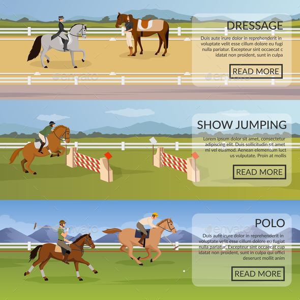 Equestrian Sport Flat Horizontal Banners - Animals Characters