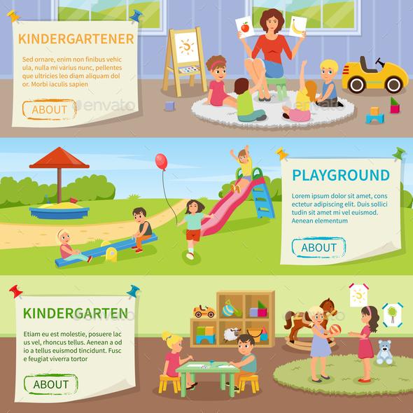 Kindergarten Flat Horizontal Banners - Industries Business