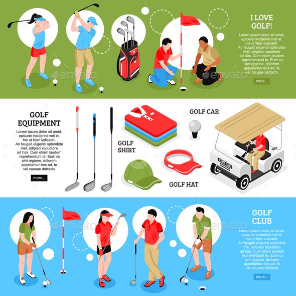 Golf Horizontal Banners Set - Sports/Activity Conceptual