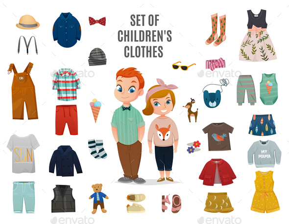 Children Fashion Big Icon Set - People Characters