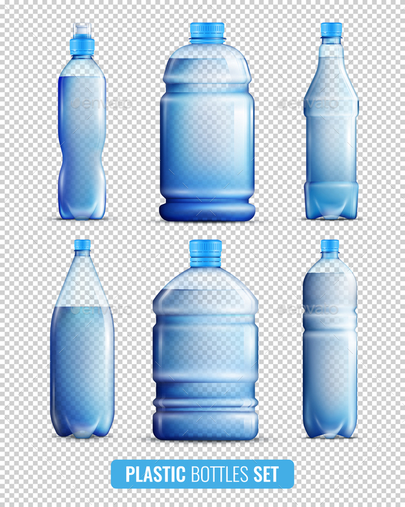 GraphicRiver Plastic Bottles Transparent Icon Set 20667961