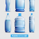 Plastic Bottles Transparent Icon Set