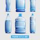 Plastic Bottles Transparent Icon Set