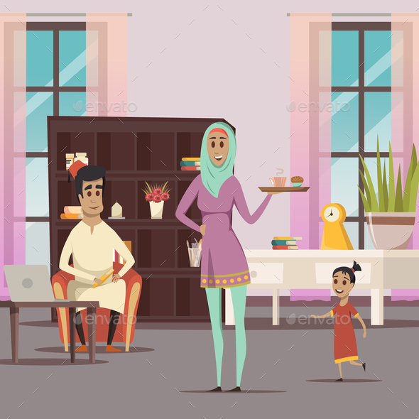 GraphicRiver Arabic Woman And Family Background 20667966