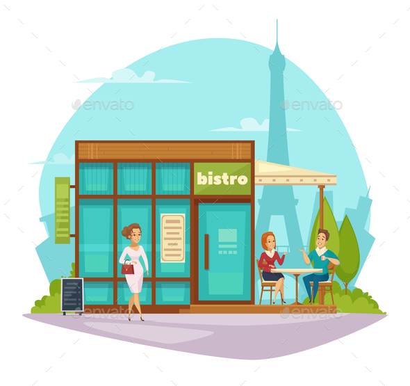 GraphicRiver Bistro Cafe Terrace Flat Composition 20667970
