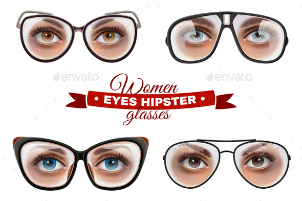 GraphicRiver Hipster Women Glasses Set 20667980