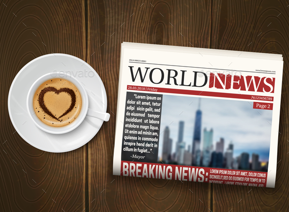 GraphicRiver Morning Newspaper Wood Background Poster 20667984