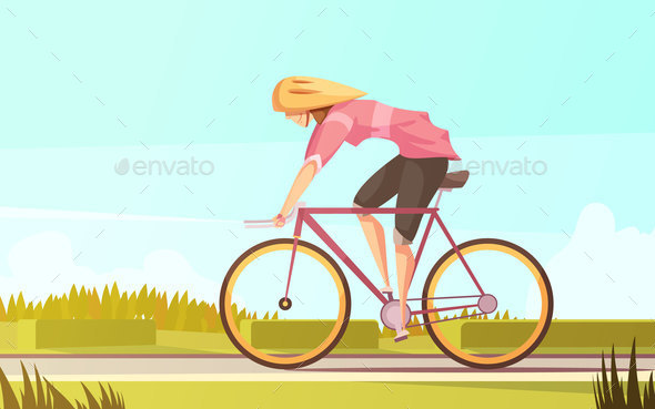 GraphicRiver Bicycle Rider Woman Composition 20667989