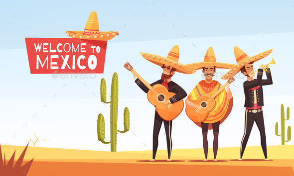 Mexican Musicians Vector Illustration - Patterns Decorative
