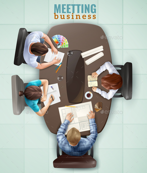 GraphicRiver Top View Meeting Illustration 20668001