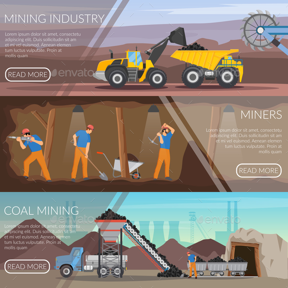 Mining Industry Horizontal Flat Banners - Industries Business