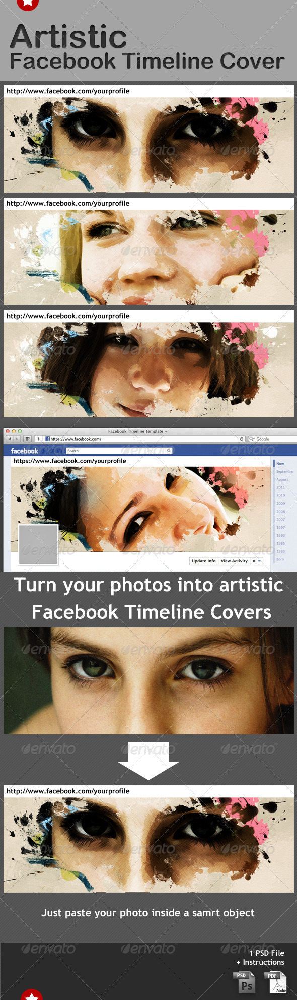 Artistic Facebook Cover Template - Miscellaneous Photo Templates