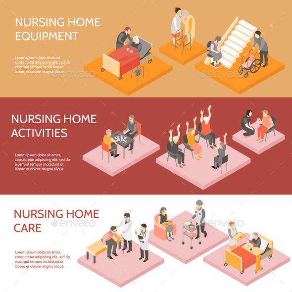Nursing Home Isometric Horizontal Banners - Miscellaneous Vectors