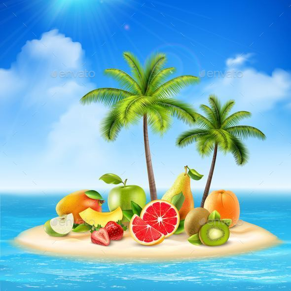 Fruity Island Background Concept - Food Objects