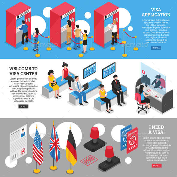 Visa Center Banners Set - Miscellaneous Vectors