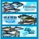 Vector Fish Banners for Sea Fishing Adventure