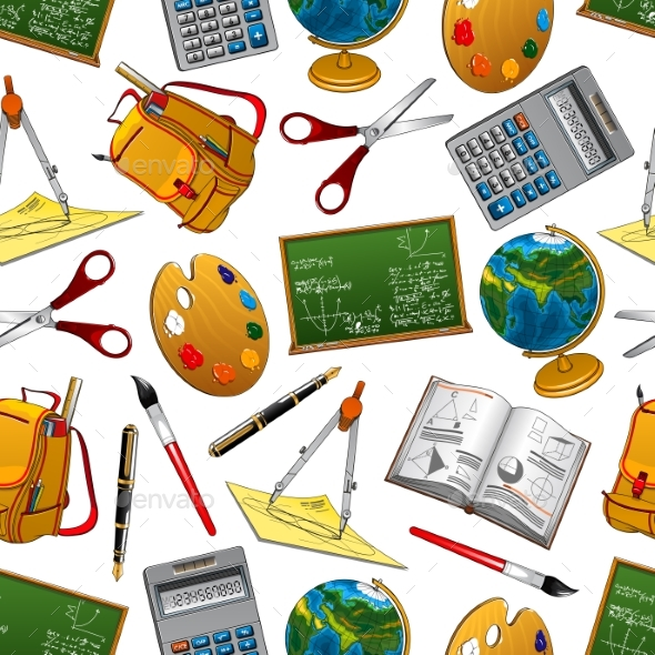 GraphicRiver Back To School Vector Seamless Pattern 20668263