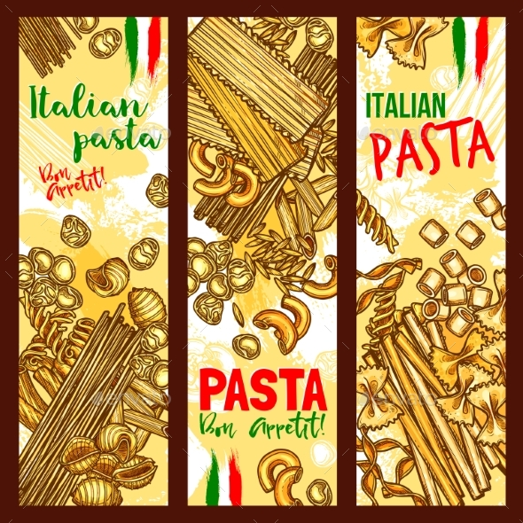 Pasta and Italian Macaroni Vector Banners - Food Objects