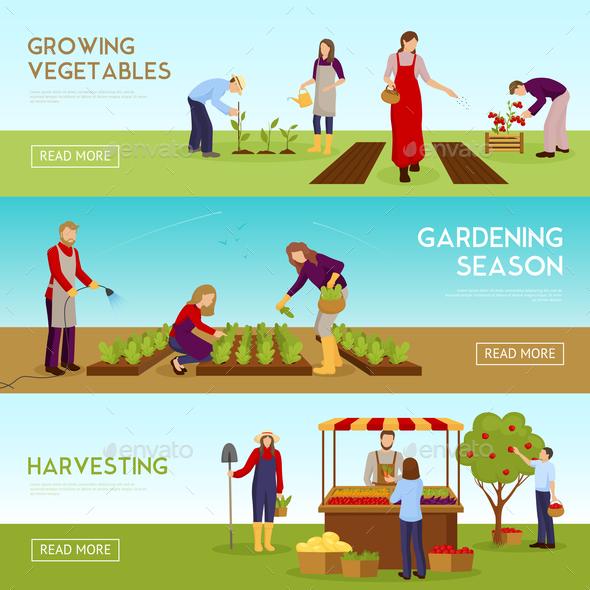 Gardening Season Horizontal Banners Set - Food Objects