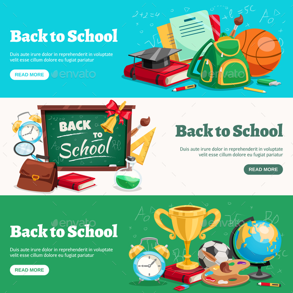 GraphicRiver Back to School Horizontal Banners 20668319