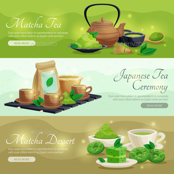 Green Matcha Tea Horizontal Banners - Food Objects