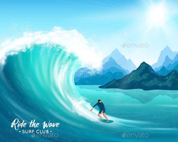 GraphicRiver Surfer and Wave Illustration 20668324