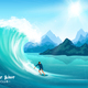 Surfer and Wave Illustration