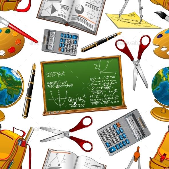 Back To School Vector Seamless Pattern - Backgrounds Decorative