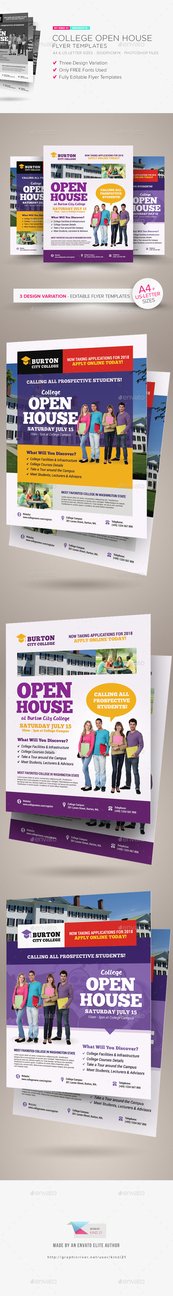 College Open House Flyer Templates by kinzishots GraphicRiver