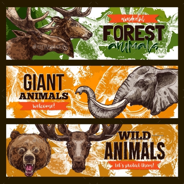 Wild Animals Vector Zoo or Save Animal Banners - Animals Characters