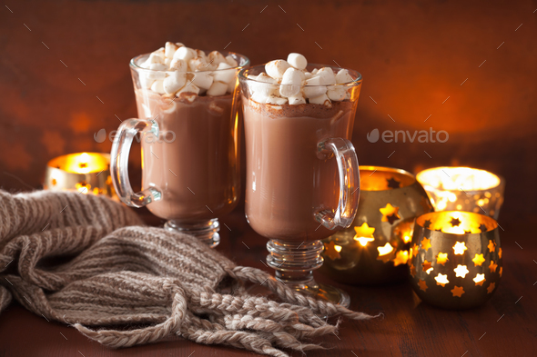 hot chocolate with mini marshmallows cinnamon winter drink candl - Stock Photo - Images