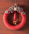 red christmas wreath handmade diy wooden background